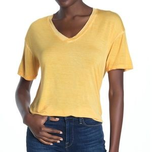 Abound Yellow Washed V-Neck Hi-Lo Tee